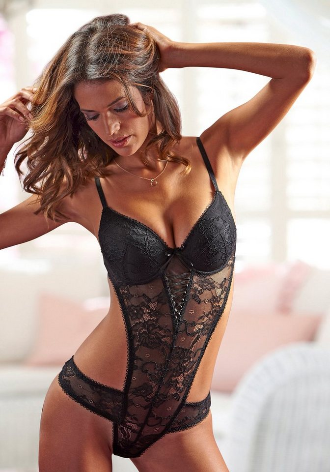 LASCANA Push-up-Body mit Schnürdetails in schwarz