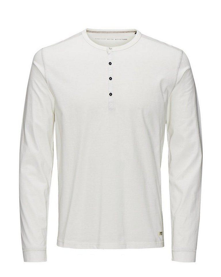 Jack & Jones Klassisches Melange T-Shirt mit langen Ärmeln in Cloud Dancer