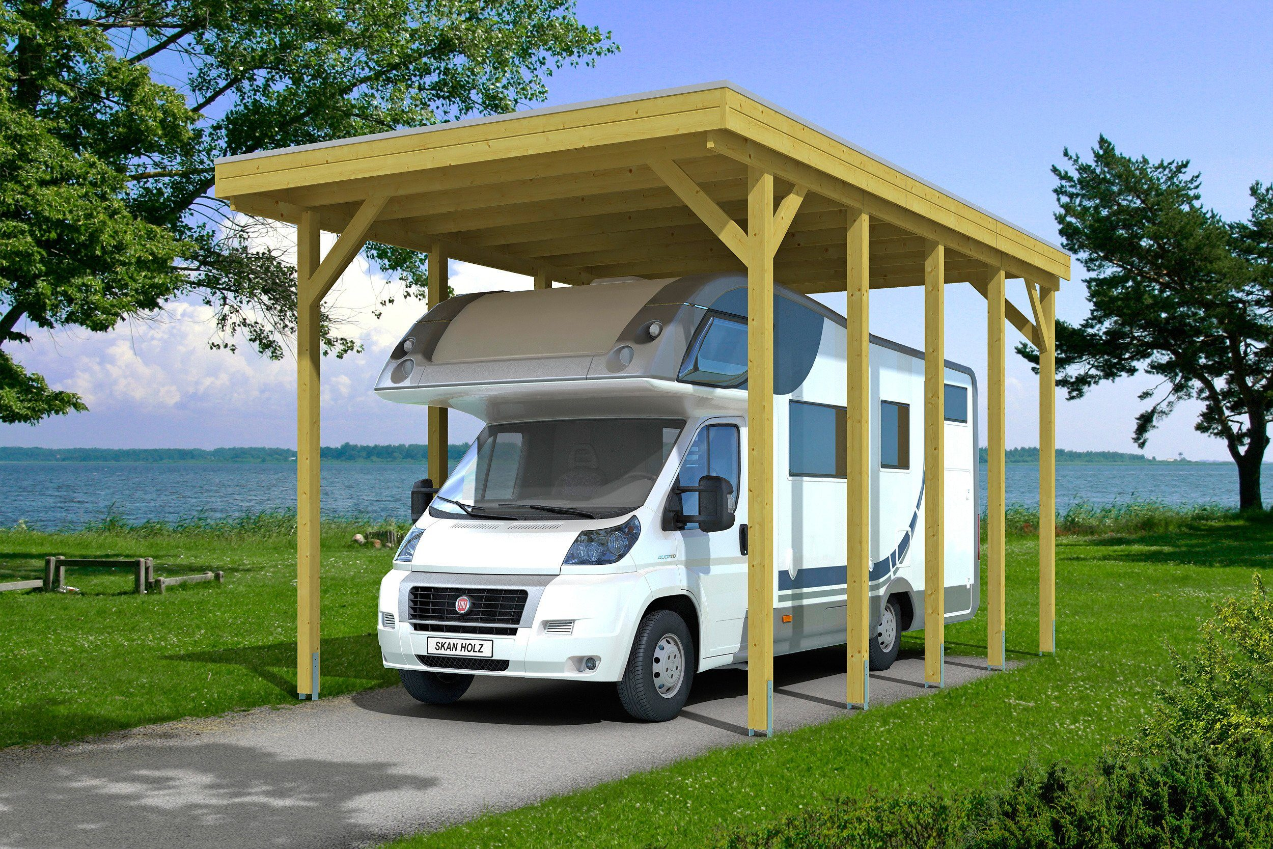 Skanholz Einzelcarport »Caravan-Friesland«, BxT: 397x708 cm, grün