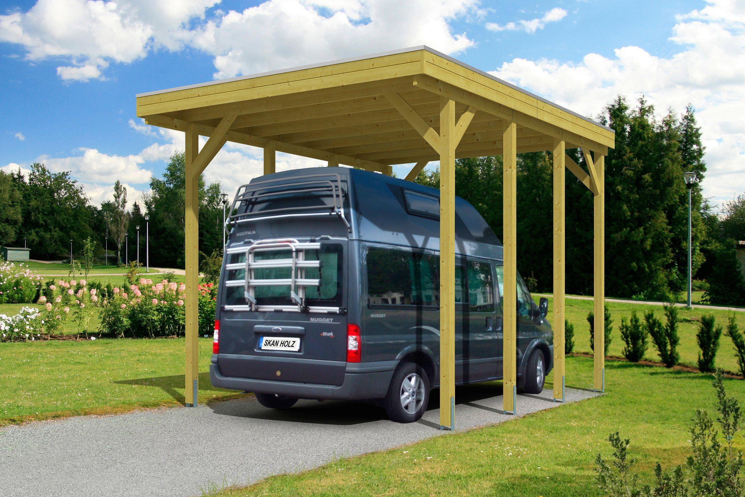 Skanholz Einzelcarport »Caravan Friesland«, BxT: 397x555 cm, grün
