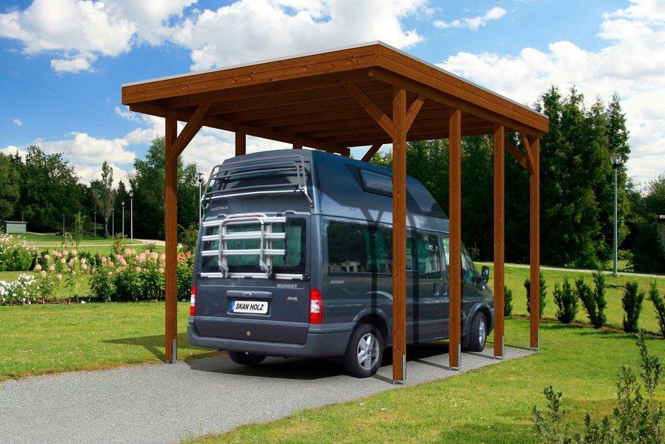Skanholz Einzelcarport »Caravan Friesland«, BxT: 397x555 cm in braun