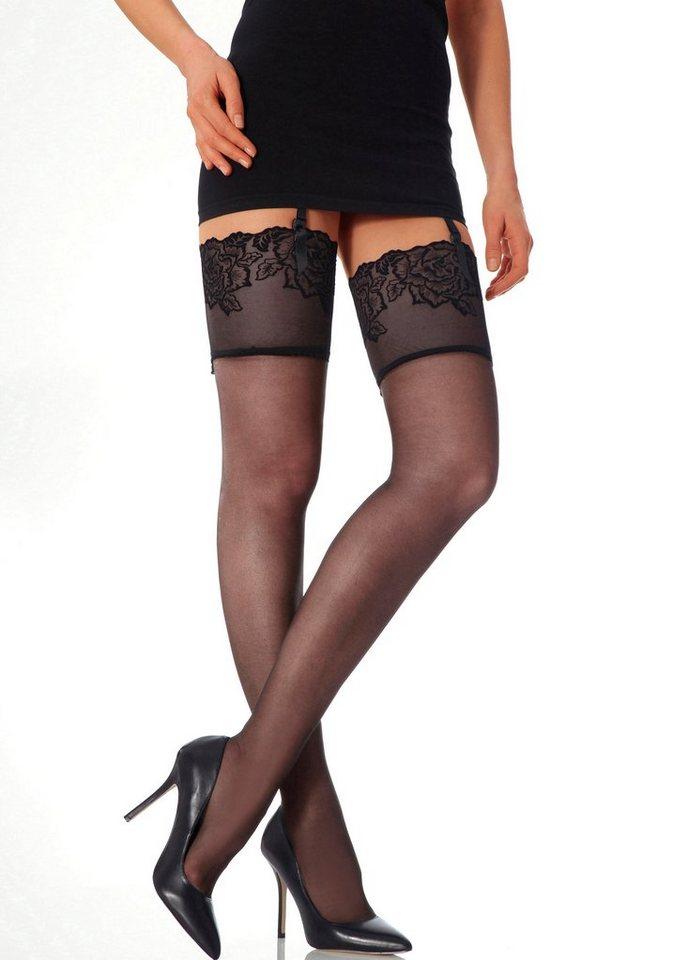 Feine Straps-Strümpfe, Vivance, verführerisches Design mit elastischer Flockpirnt Spitze in 1x schwarz