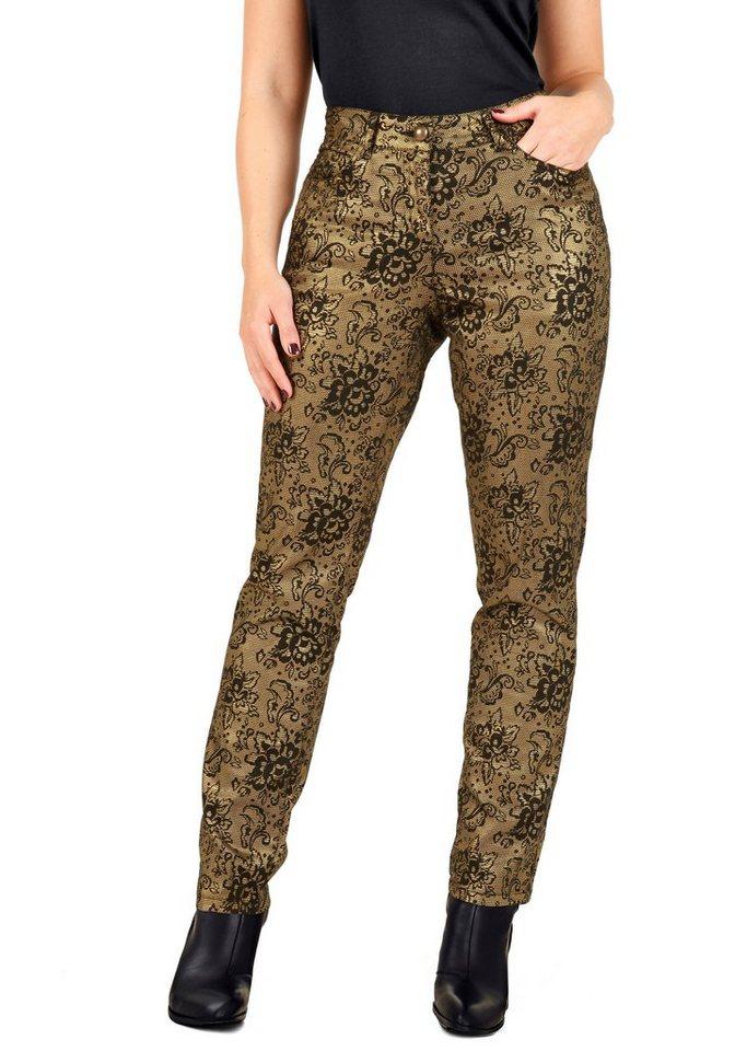 sheego Trend Hose in schwarz/gold