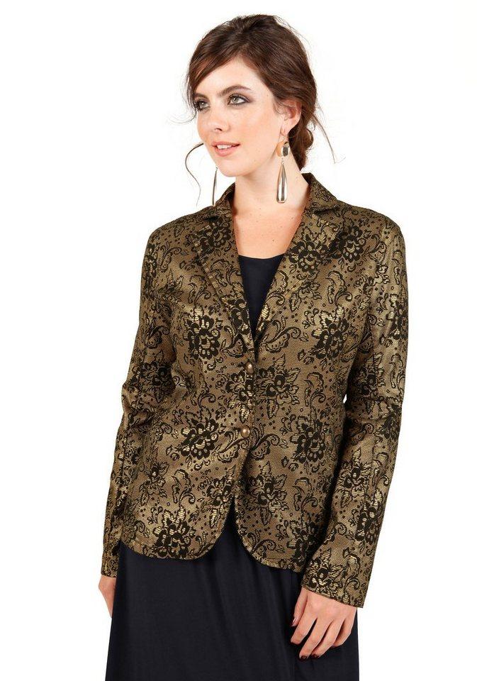 sheego Trend Blazer in schwarz/gold