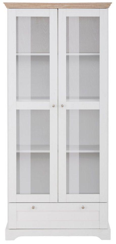 Home affaire Vitrine »Anna« , Höhe 180 cm (2-trg.) in weiß/sonoma eichefarben