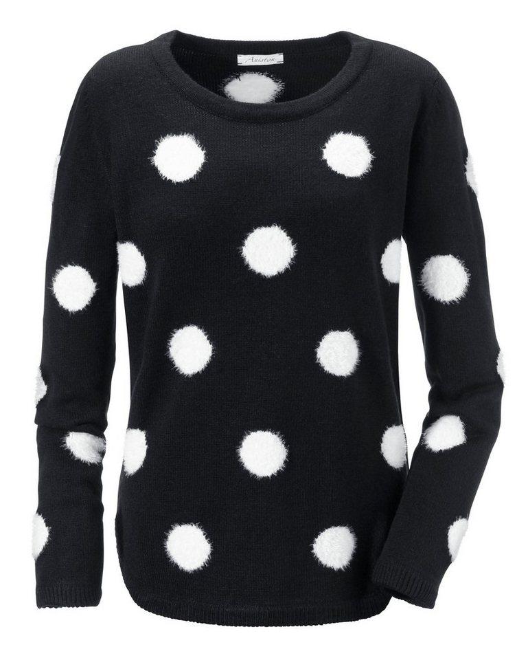 Aniston Rundhalspullover in schwarz-weiß