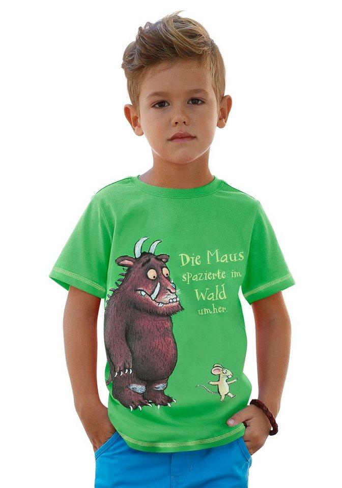 """DER GRÜFFELO T-Shirt """"Die Maus spaziert im Wald umher."""" in grün"""