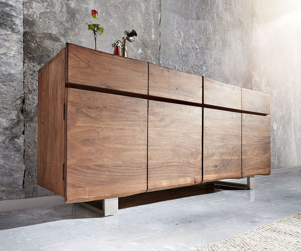 delife kommode live edge akazie braun 172 cm otto. Black Bedroom Furniture Sets. Home Design Ideas