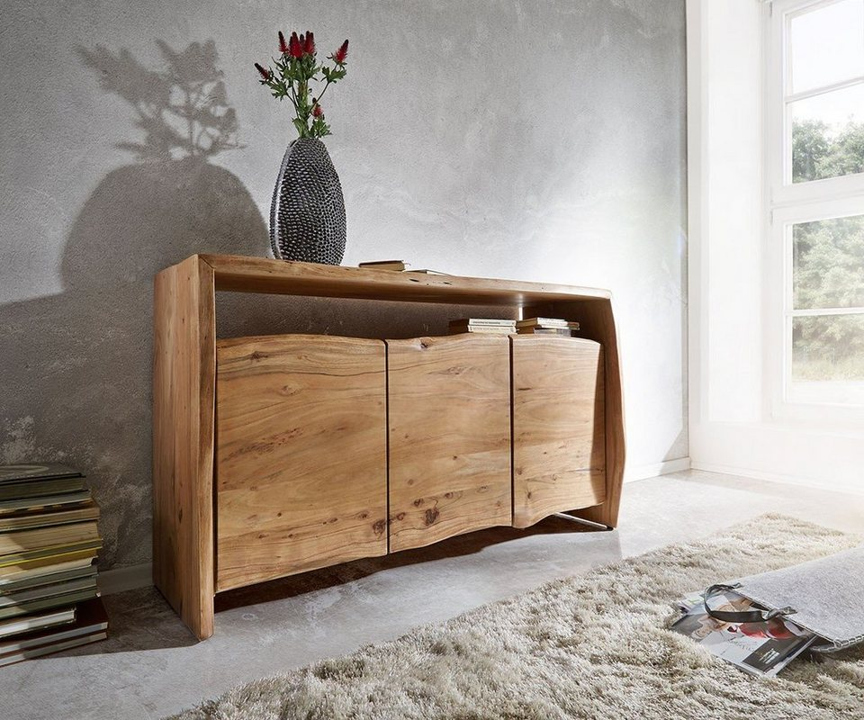 delife kommode live edge akazie natur 145 cm otto. Black Bedroom Furniture Sets. Home Design Ideas