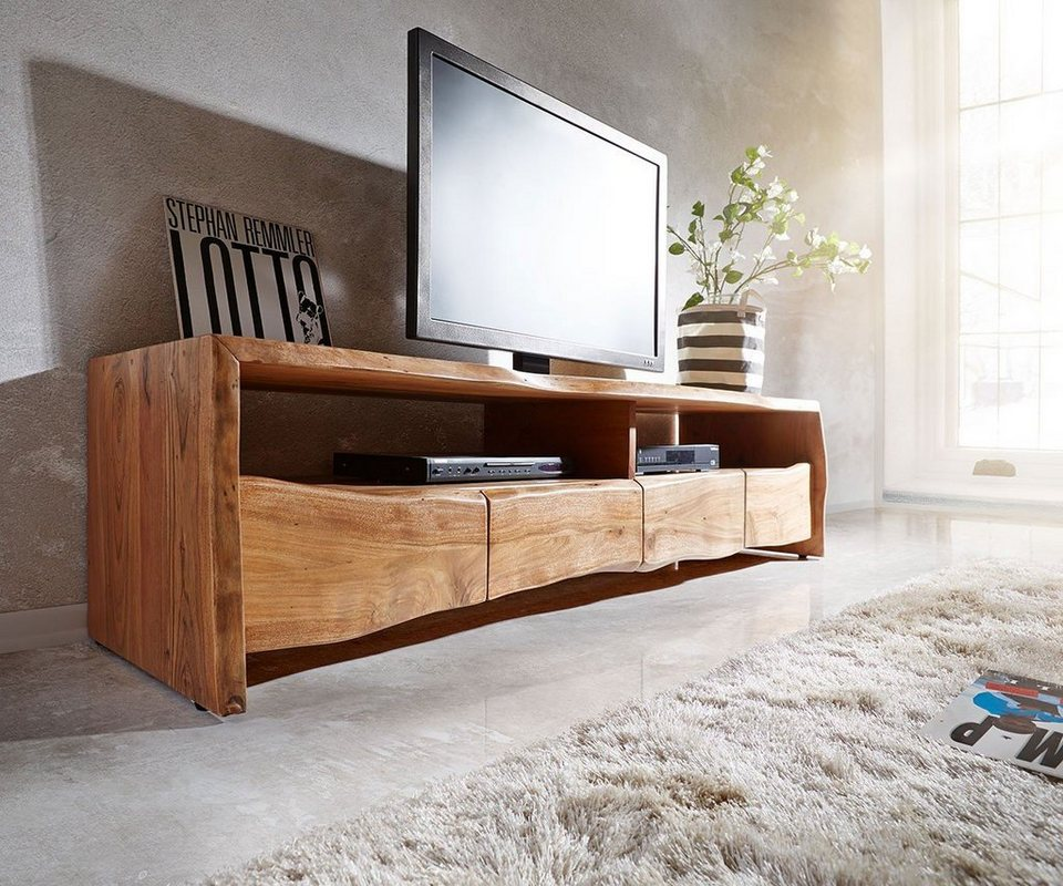delife fernsehtisch live edge akazie natur 190 cm otto. Black Bedroom Furniture Sets. Home Design Ideas