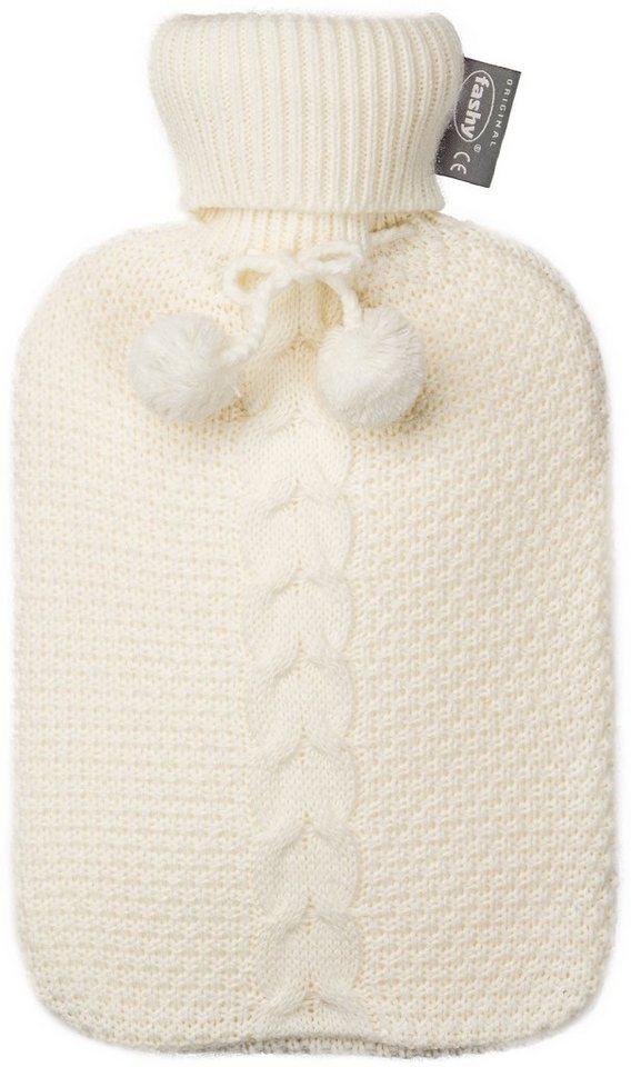Fashy Wärmflasche 6700, 2,0 L mit Strickbezug in weiss