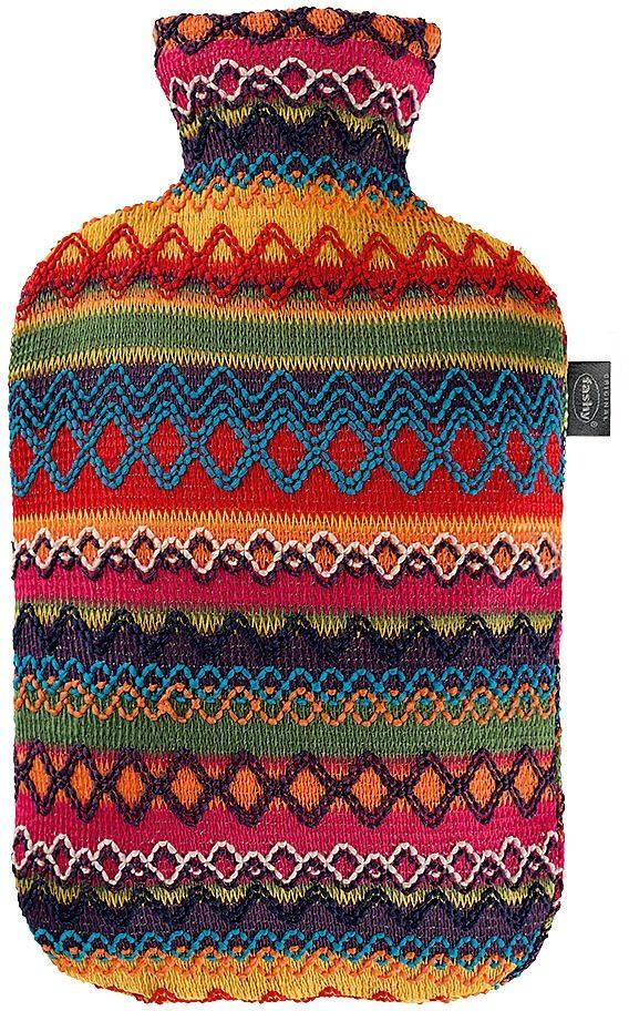 Fashy Wärmflasche 6757 25, 2,0 L mit Bezug im Peru-Design