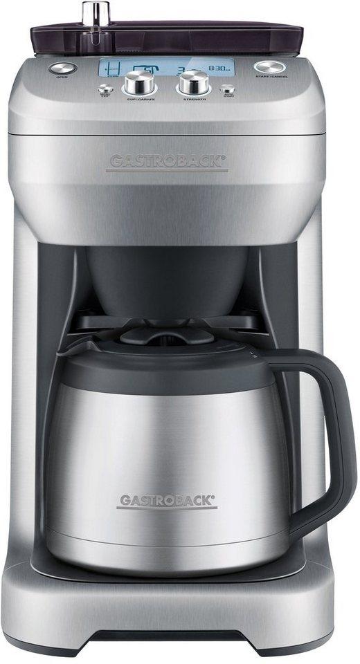 Gastroback Kaffeemaschine 42720, mit integriertem Kaffeemahlwerk, 1000 Watt in silber