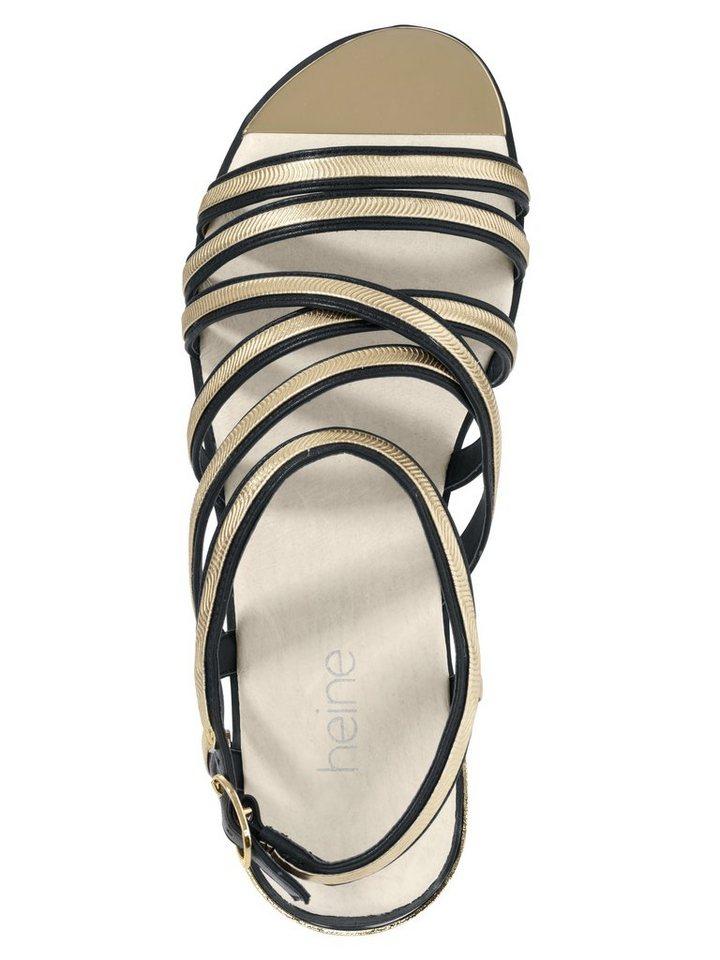 Sandalette in schwarz/goldfarben