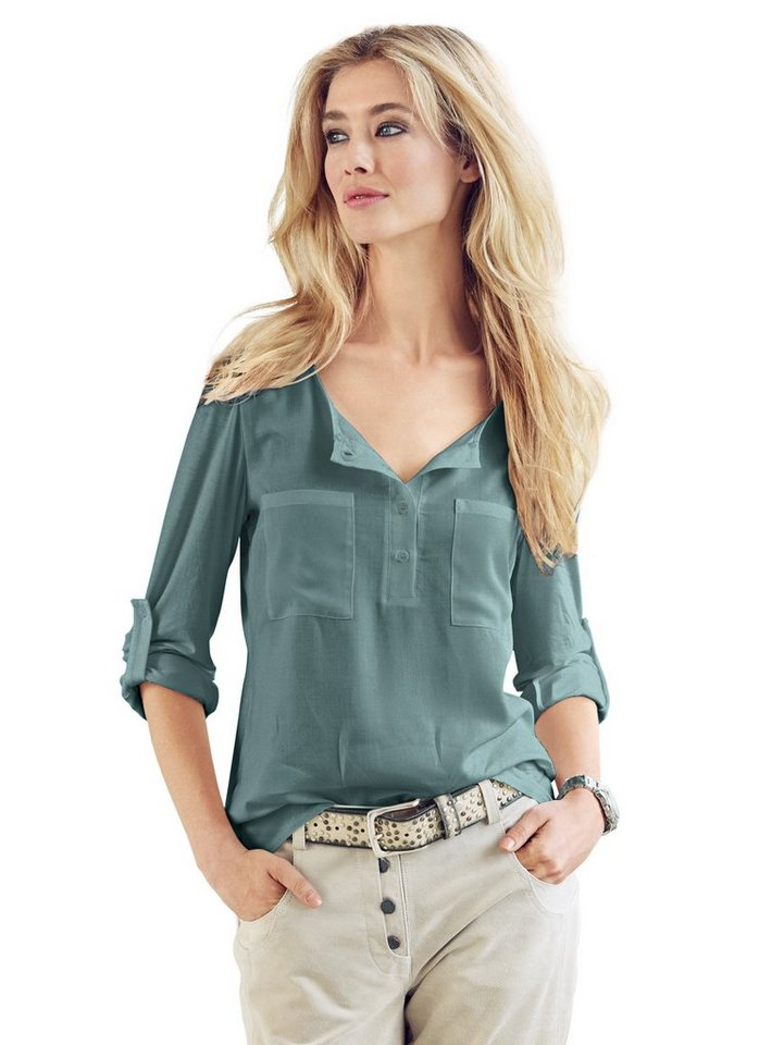 B.C. BEST CONNECTIONS by Heine Blusenshirt vorne mit Chiffon in jade