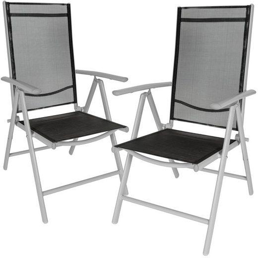 tectake Gartenstuhl »2 Aluminium Gartenstühle« (2 Stück), verstellbare Rückenlehne