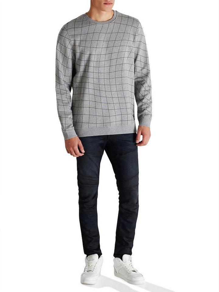 Jack & Jones Grafisch bedrucktes Regular-Fit- Sweatshirt in Light Grey Melange