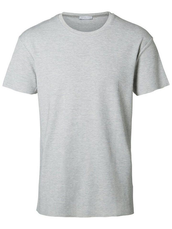 Selected Rundausschnitt- T-Shirt in Light Grey Melange