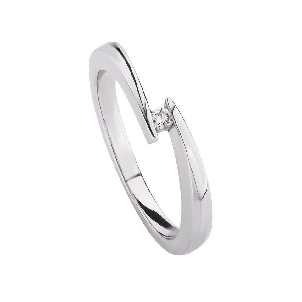 CELESTA Ring »925/- Silber 1x Diamant« in weiß