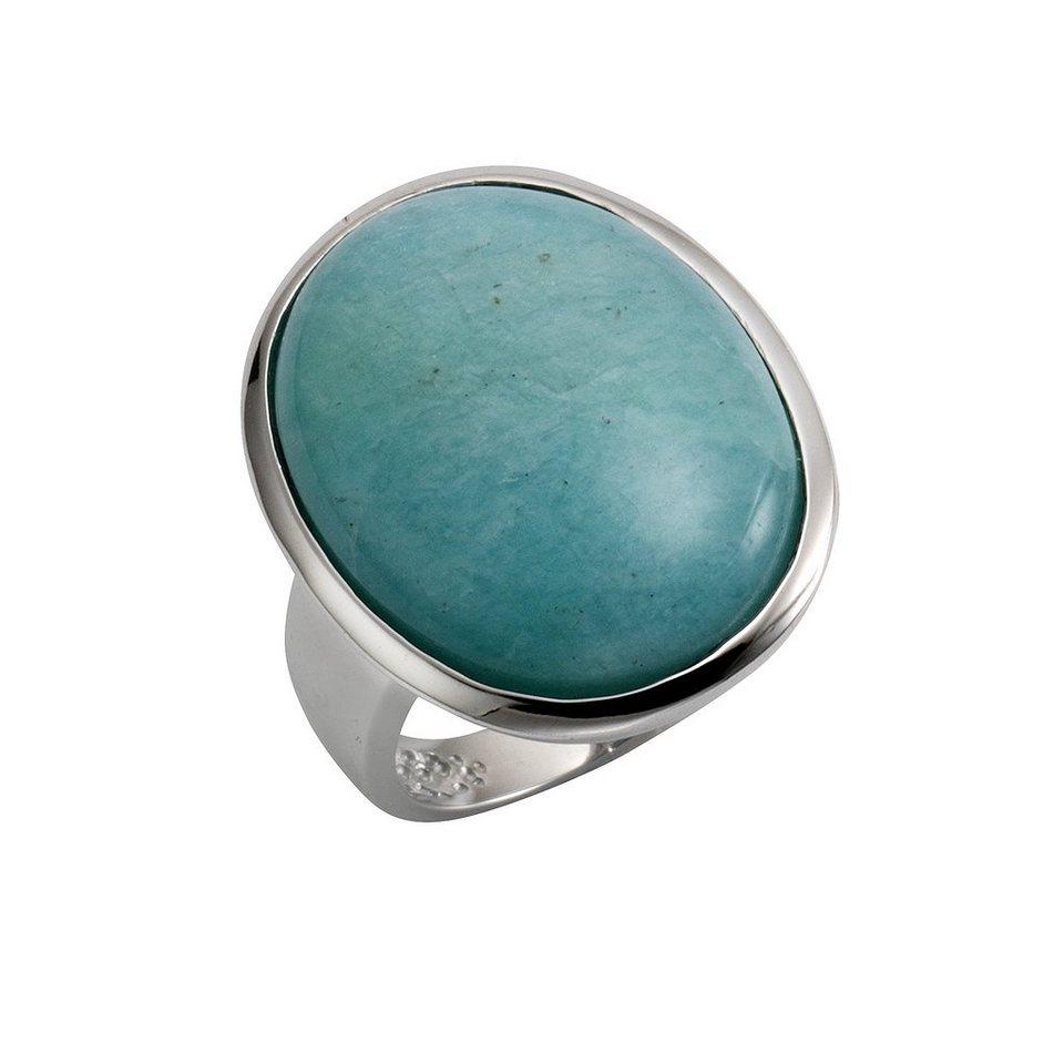Zeeme Ring »925/- Sterling Silber rhodiniert Amazonit« in weiß