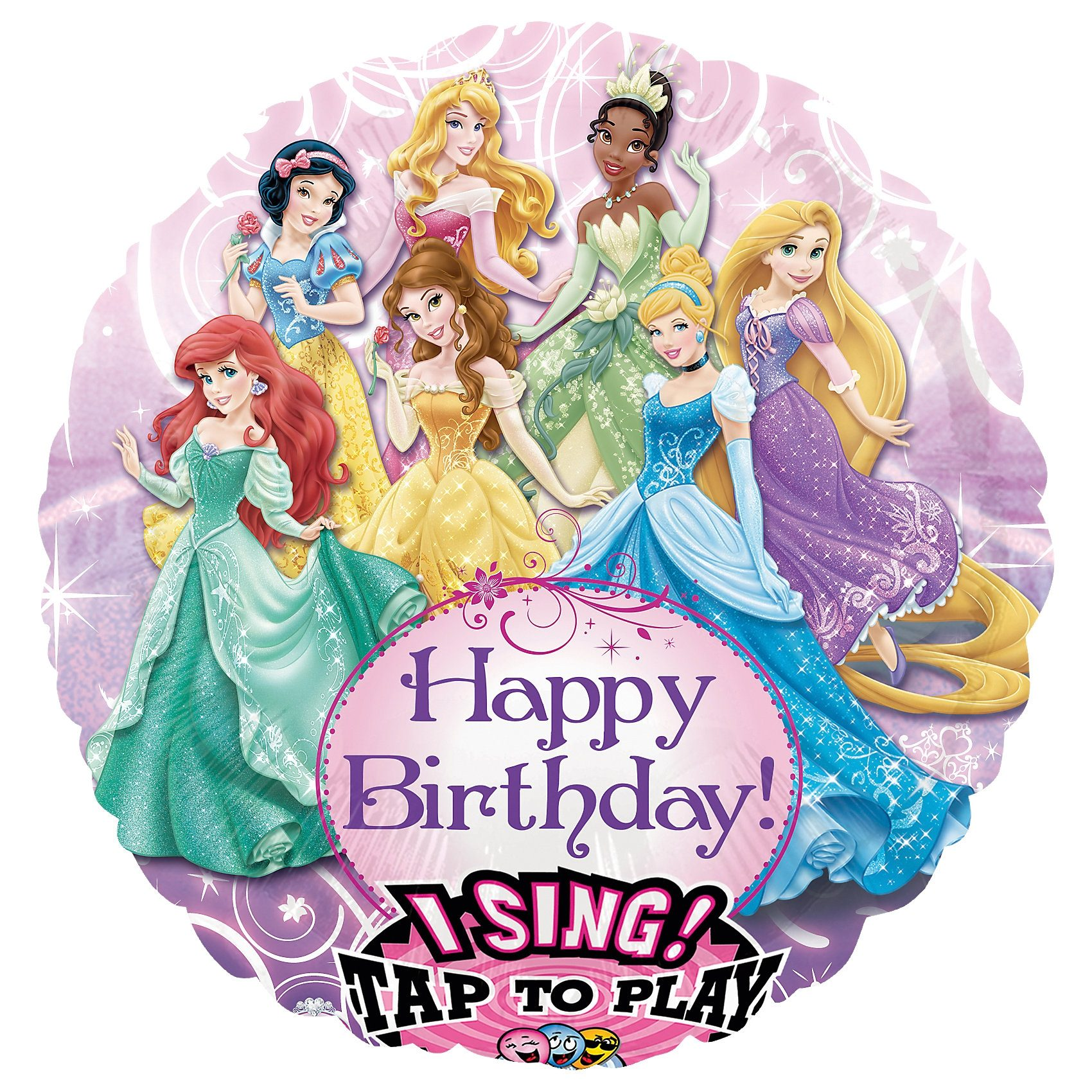 Amscan Singender Folienballon Disney Princess Happy Birthday