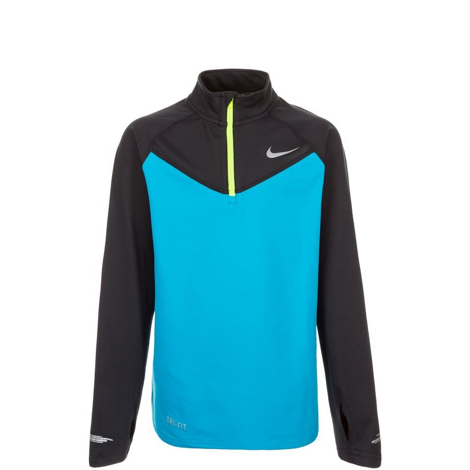 NIKE Element Halfzip Laufshirt Kinder in blau / schwarz / gel