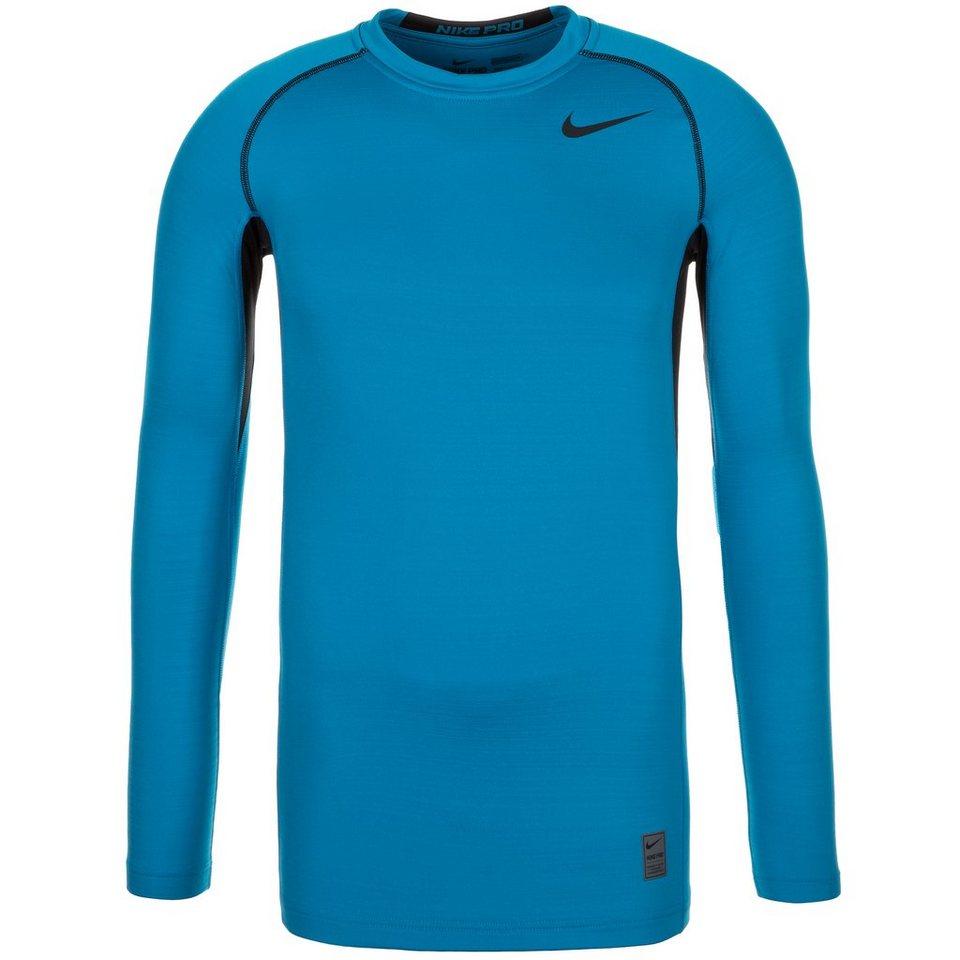 NIKE Pro Hyperwarm Dri-FIT Max Trainingsshirt Herren in blau / schwarz