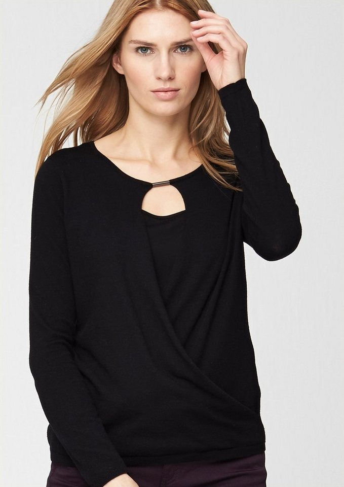 s.Oliver PREMIUM Wickel-Pulli mit Cut-out in glory black