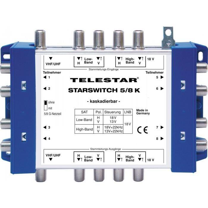TELESTAR Multischalter-Kaskade inkl. F-Schnellverbinder »STARSWITCH 5/8 K« in blau-weiß