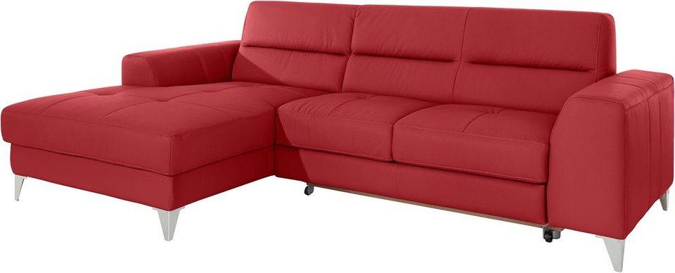 COTTA Polsterecke mit Recamiere, wahlweise mit Bettfunktion in rot