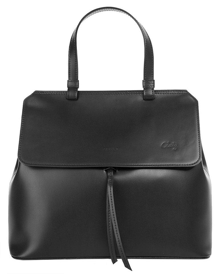 Cluty Leder Damen Shopper in schwarz