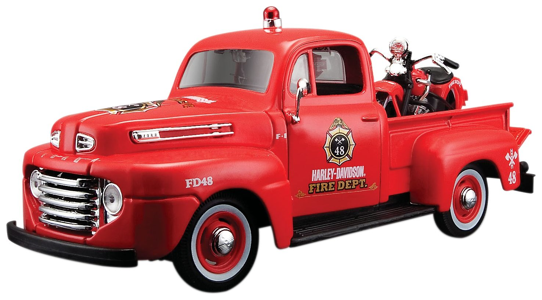 Maisto® Sammlerauto u. -motorrad, 1:24, »Ford F1 Pick-Up '48 + Harley-Davidson Knucklehead '36«