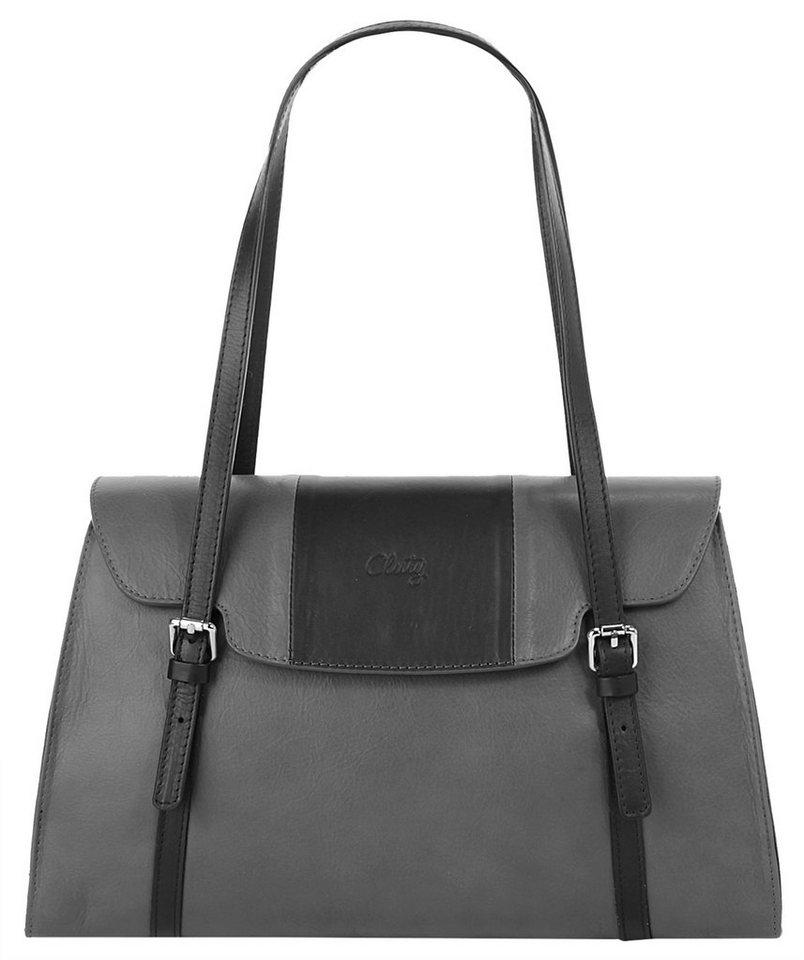Cluty Leder Damen Handtasche in grau