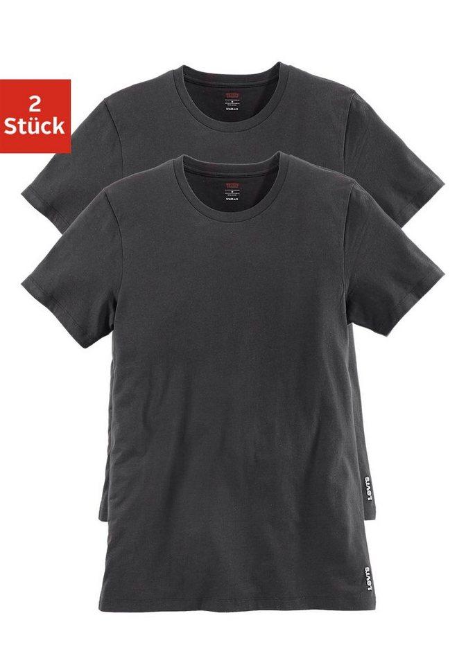 Levi's® T-Shirt Rundhals (2 Stück) schönes Basic-Shirt in 2x schwarz