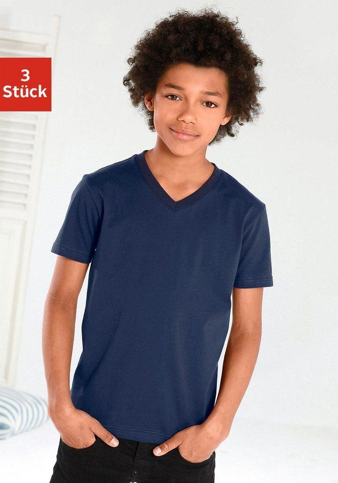T-Shirts V-Ausschnitt (3 Stück), ideal zum Drunterziehen, passt für jeden Tag in marine + blau + hellblau