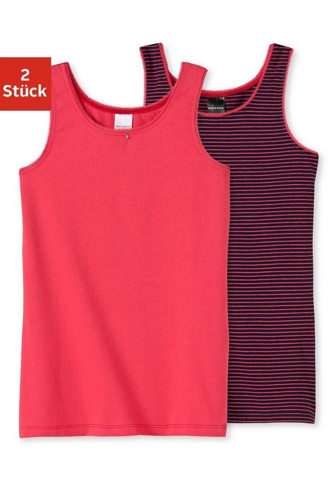 Schiesser Tanktop for girls (2 Stück), süße Spitzenkante am Ausschnitt und Armloch in rot + rot/marine gestreift