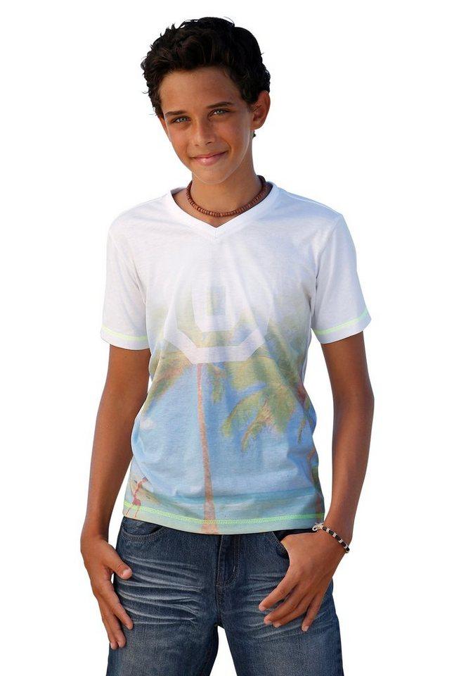 Arizona T-Shirt mit V-Ausschnitt, für Jungen in Weiß