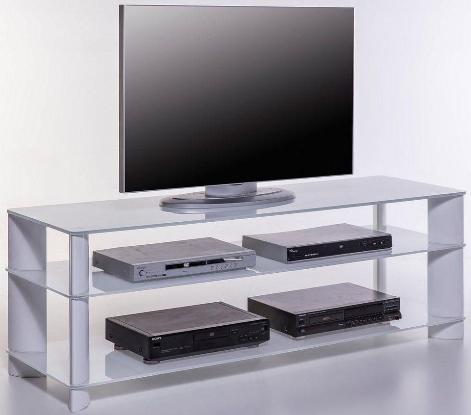 Lowboard, Breite 150 cm in weiß/Weißglas