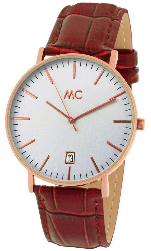 MC Armbanduhr, mit Datum, »27772« in bordeauxfarben