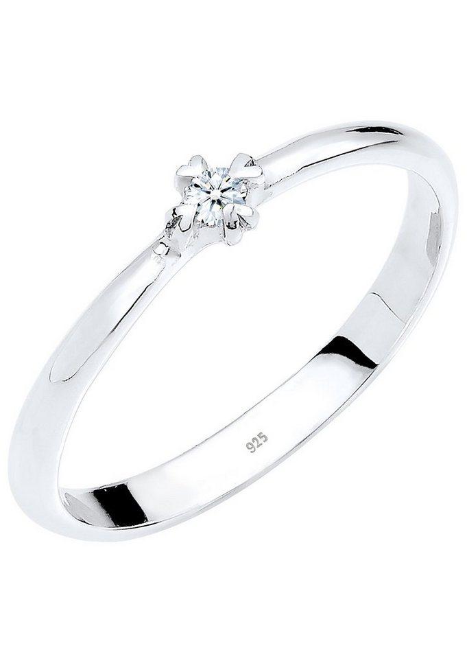 Diamore Solitär Ring mit funkelndem Brillant von Herzen gefasst, »Tea, 0609252513« in Silber 925