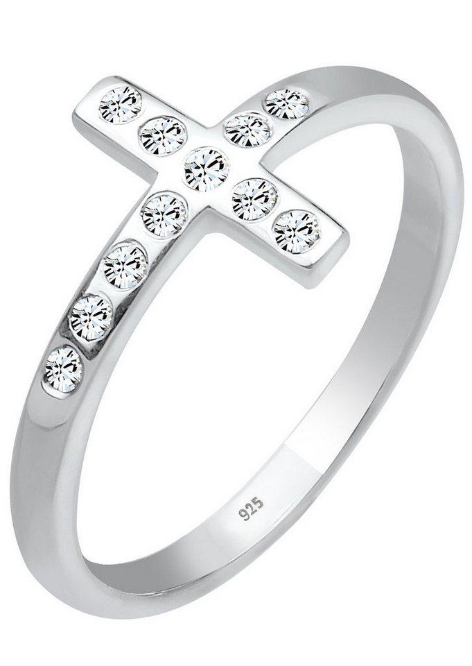 Elli Ring Kreuz mit Swarovski® Kristallen, »Demi, 0604710813« in Silber 925