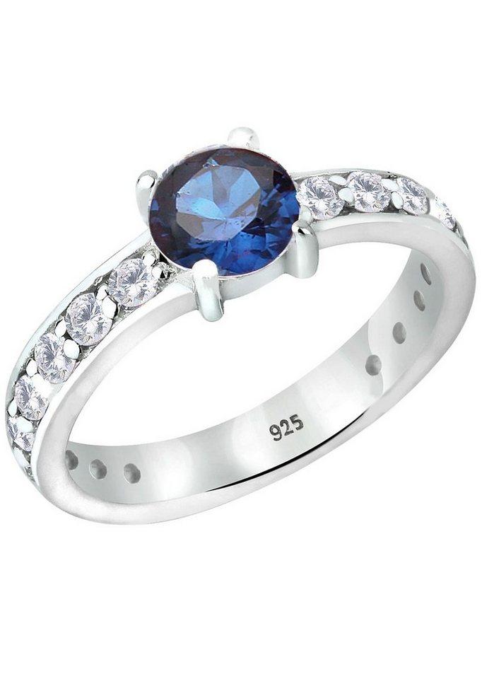 Elli Ring mit synth. Saphir und Zirkonia, »Starla, 0607571112« in Silber 925/blau