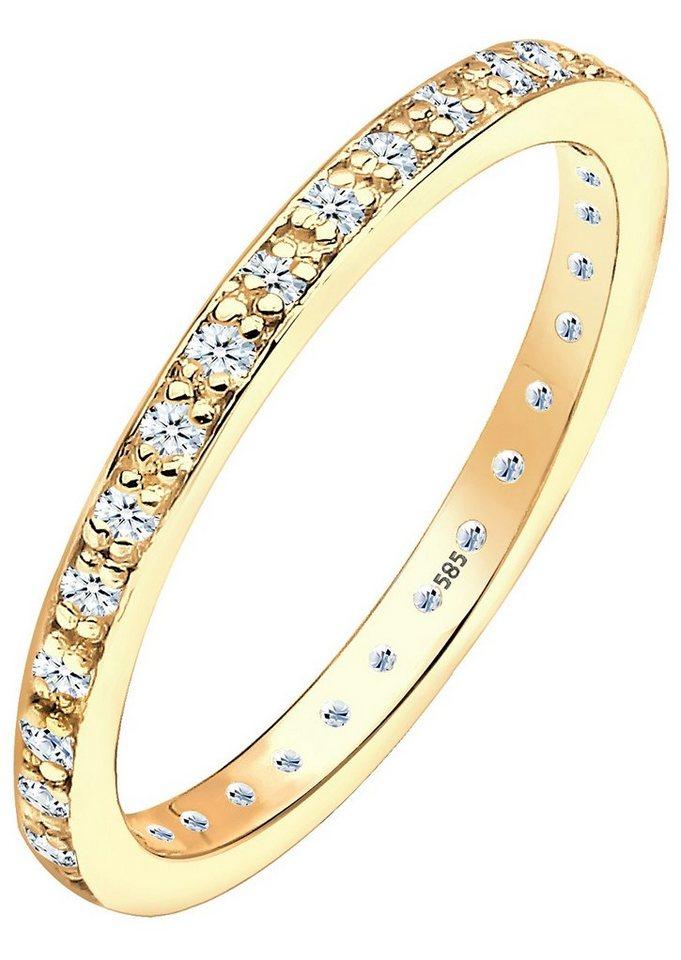 Diamore Memoirering mit funkelnden Brillanten, »Linea, 0612361813« in Gelbgold 585