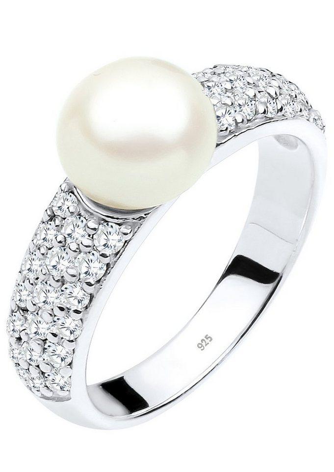 PERLU Ring mit Süßwasserzuchtperle und Zirkonia, »Ruby, 0611152813« in Silber 925/weiß