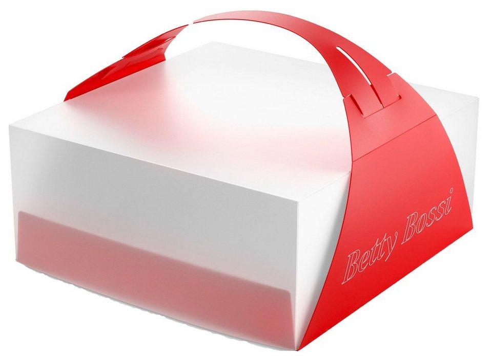 Betty Bossi Tortenbox, faltbar in weiß/rot