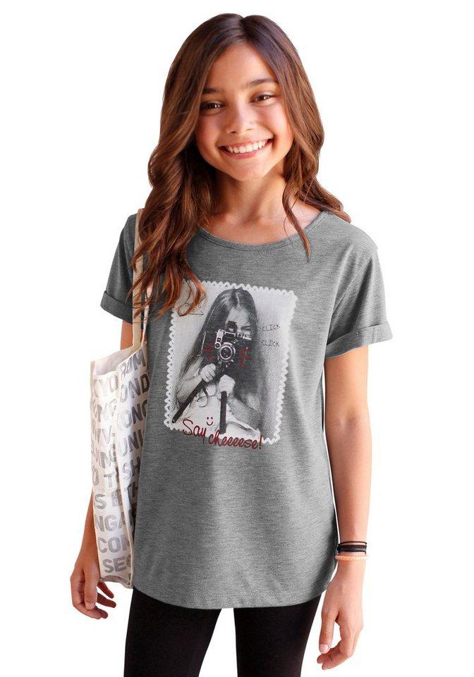 KIDSWORLD T-Shirt in Oversize-Form, für Mädchen in Grau