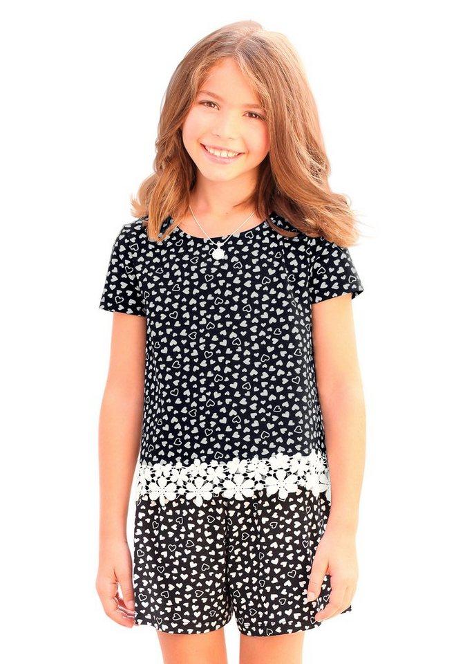 KIDSWORLD T-Shirt mit Häkelspitze, für Mädchen in Gemustert
