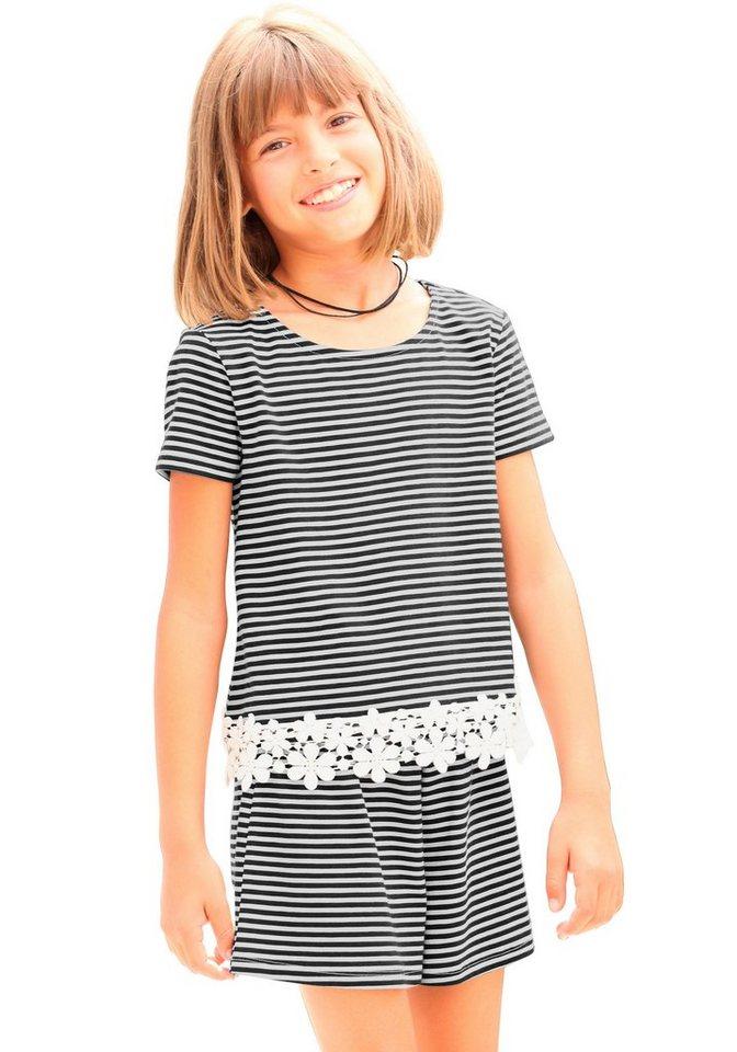KIDSWORLD T-Shirt mit Häkelspitze, für Mädchen in Gestreift