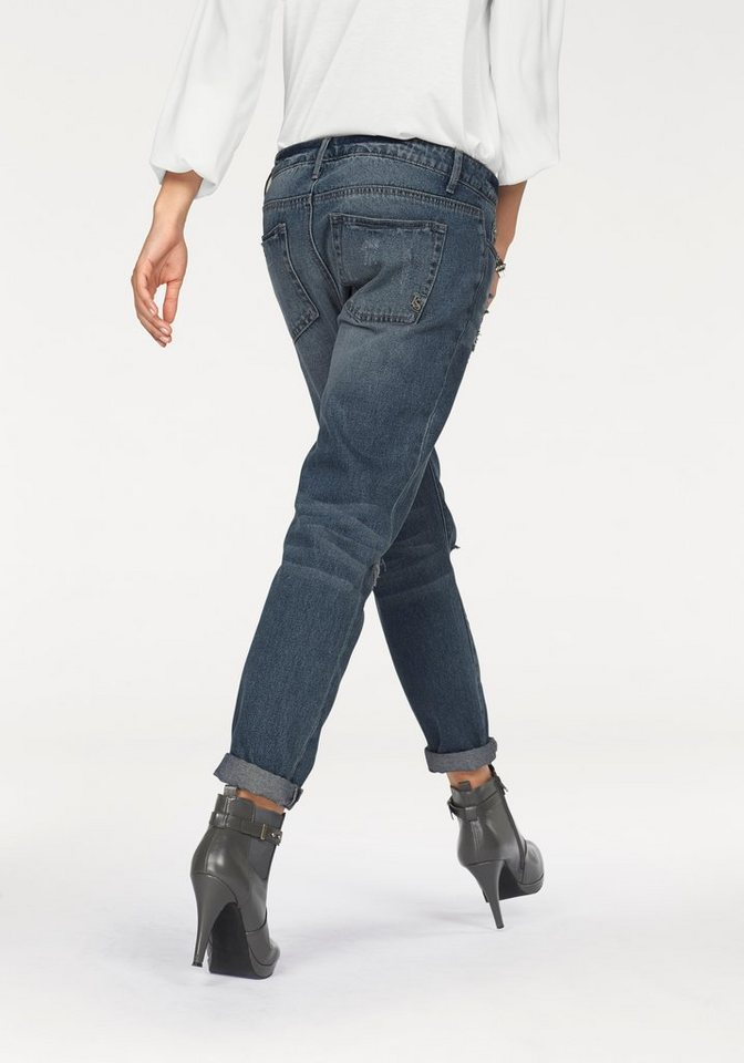 Laura Scott Boyfriend-Jeans mit verzierter Coinpocket in blue-used