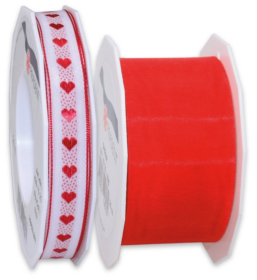 Präsent Schleifenbänder, 2 Rollen im Set, 45 m, MADE IN GERMANY, »Herzen« in rot/weiß